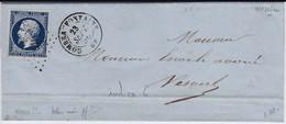 N°14Ab Bleu Noir Intense Signé Calves Et Certifié Jacquart Pour La Nuance Sur Lettre De Combeaufontaine (69) TTB Et Rare - 1853-1860 Napoléon III