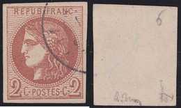 N°40B, Position 6, Oblitération Cachet à Date Très Légère, Signé, Brun Et Pigeron, TTB - 1870 Emission De Bordeaux