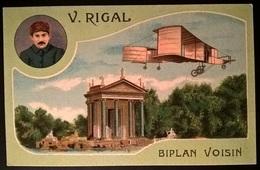 BIPLANO VOISIN PILOTA RIGAL - Aviatori