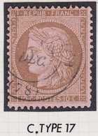 N°58 Oblitéré Cachet à Date Type 17, TB. - 1871-1875 Cérès