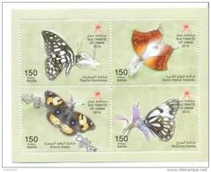 Oman 2014 Wildlife In Oman Butterflies Stamps Sheet - Oman