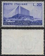 Italia Italy 1951 Ara Pacis Sa N.656 Nuovo Integro MNH ** - 1946-60: Nuovi
