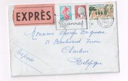 """Lettre """"Express"""" De Cannes Sà Charleroi (Belgique). Cachet """"Bruxelles"""" Au Verso. - Marcophilie (Lettres)"""