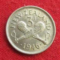 New Zealand 3 Pence 1946 KM# 7 Silver  Nova Zelandia Nuova Zelanda Nouvelle Zelande - Nouvelle-Zélande