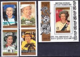 BIOT British Indian Ocean Territory 1996 Q. Elizabeth 70th Birthday Compl. Set + MS Mi 183-186 + Bl 6 MNH ** - Britisches Territorium Im Indischen Ozean