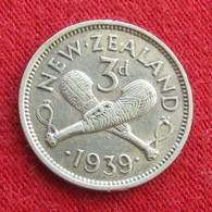 New Zealand 3 Pence 1939 KM# 7 Silver  Nova Zelandia Nuova Zelanda Nouvelle Zelande - New Zealand