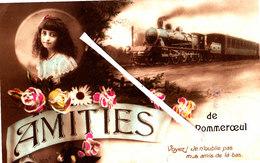 POMMEROEUL - Amitiès De - Carte Colorée Avec Locomotive à Vapeur Et Petite Fille Dans Médaillon - Bernissart