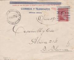 SOBRE ENTERO POSTAL N°5 154 SOBRECARGA AZUL USO OFICIAL SIN VALOR POSTAL-CIRCULADO BERNASCONI A BAHIABLANCA 1940 - BLEUP - Postal Stationery