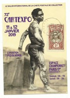 CPM 72 ème Cartexpo Janvier 2019  - Thème Types Du Monde Colonies - Neuve état Parfait - Bourses & Salons De Collections