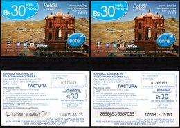Bolivia 2017-05-08-18 Prepago ENTEL. Arquitectura. Monumento Y Cerro Rico. Potosi. Plastico. Diferentes Impresiones. - Bolivië
