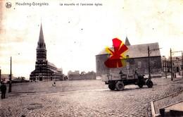 """HOUDENG-GOEGNIES  - La Nouvelle Et L'ancienne Eglise -(à L'avant Plan Camion Du """"Moulins Dambot"""" - La Louvière"""