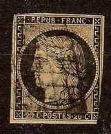 RARE CERES N°3b 20c Noir / Chamois Oblitéré GRILLE Cote 200 Euro PAS D'AMINCI - 1849-1850 Cérès