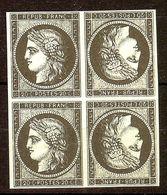RARE ESSAI PRIVE BLOC CERES N°3a 20c Noir /Blanc NEUF(*) IMPRESSION RECTO VERSO - 1849-1850 Cérès