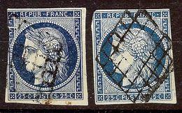 JOLI LOT 2 NUANCES CERES N°4 25c Bleu Oblitéré GRILLE 1849 Cote + 115 Euro - 1849-1850 Cérès