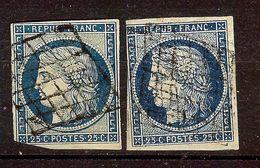 JOLI LOT 2 CERES N°4a 25c Bleu Foncé Oblitéré GRILLE 1849 Cote + 140 Euro - 1849-1850 Cérès
