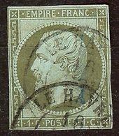 EXTRA NAPOLEON N°11 1c Olive Oblitéré CàD LE HAVRE Cote 100 Euro PAS D'AMINCI - 1853-1860 Napoléon III