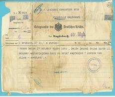 TELEGRAMME/ TELEGRAPHIE DES DEUTSCHEN REICHS Van BRUSSEL 8/11/1914 Naar MAGDEBURG + Ctr. Mgb (controle)+ GEPRUFT - Guerre 14-18