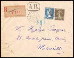 3720 Recommandé AR Lettre Bouches Du Rhone N°179 + 193 1f40 Pasteur Marseille A 1926 - 1921-1960: Période Moderne