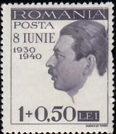 ROMANIA - Scott #B113 King Carol II / Mint H 'Damaged' Stamp - 1918-1948 Ferdinand, Charles II & Michael