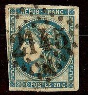 EXTRA BORDEAUX N°46 Ba 20c Bleu Foncé Oblitéré Losange GC Cote 70€ PAS AMINCI - 1870 Emission De Bordeaux
