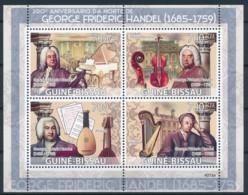 NB - [401064]Guinée-Bissau 2009 - 100ème Anniversaire De La Mort De George Frideric Handel, Piano, Violon, Harp, Luth - Musique