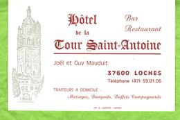 Carte De Visite   Hôtel De La Tour Saint-Antoine  37600  Loches - Visiting Cards