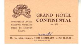 Carte De Visite   - Grand Hôtel Continental  33000 - Bordeaux - Cartes De Visite
