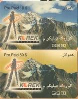Iraq - Korek Mobile, Prepaid GSM Refill, Mountains, 10$ & 50$, Exp.Day 3/02, Used - Irak