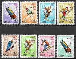 AJMAN  1968   GIOCHI OLIMPICI A  GRENOBLE YVERT. 81+POSTA AEREA 24 USATA VF - Ajman