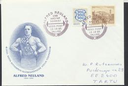 57-784 Estonia Antverpen Olympics 1920 Gold Medallist Neuland 10.10.1995  From Post Arrival Postmark - Estland