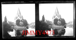 Plaque De Verre Stéréo - Les Quais, Un Pont Et Le Temple - METZ 57 Moselle - Grande Taille 178 X 88 Mlls - Glass Slides