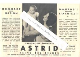 Royauté - Feuillet Publicitaire Pour L'album Du Souvenir De La Reine Astrid  (b244) - Publicités
