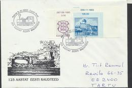 57-823 Estonia Railways 125 Years 05.11.1995 From Post Arrival Postmark - Estland
