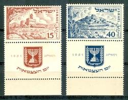 Israel - 1951, Michel/Philex No. : 57/58,  - MNH - *** - Full Tab - Nuevos (con Tab)