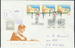 57-866 Estonia Pärnu Chess Keres Tournament 02.02.1996 Recommande From Post Arrival Postmark - Estonia