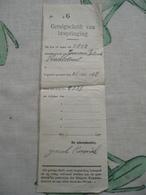 Getuigschrift Van Bespringing Stier 1917 Eerste Wereldoorlog Etappen Kommandantuur - Agriculture