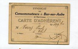 Carte Du Syndicat Des Consommateurs : BAR SUR AUBE  Adhérent De THIL   VOIR  DESCRIPTIF  §§§ - Cartes De Visite