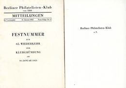 Berliner Philatelisten Klub Von 1888 - Festnummer Nr. 17 - Deutsch (ab 1941)