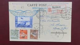 """Algerie Carte Expo Aerogramme Officiel De L'EPLAN N° 47 Pour Le Havre Griffe """"Mauvais Temps Départ Reporté"""" - Algeria (1924-1962)"""