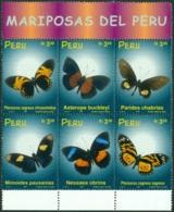 PERU 1999 BUTTERFLIES BLOCK OF 6** (MNH) - Pérou