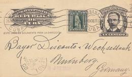 1908: Post Card Banco Nacional To Nürnberg - Cuba