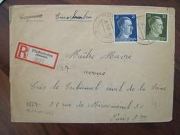 Allemagne France 1943 LAGER Censure Lettre Enveloppe Cover Guerre Deutsches Reich DR STO Censure Tribunal Civil OKW - Marcofilie (Brieven)