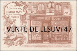 "PARIS  "" HORLOGERIE BIJOUTERIE, HENRY MAY "", 24 RUE SECRETAN. - France"