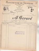 Facture Illustrée 2/2/1898 J GERARD Manufacture De Sécateurs  Cisailles DOLE Jura  Pour Joly La Clayette - 1800 – 1899