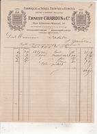 FABRIQUE DE SOIES TEINTE & ECRUES  ERNEST CHARDIN & Cie Rue Etienne Marcel Paris 26 Oct 1887 Labadie St Gaudens - Textile & Vestimentaire