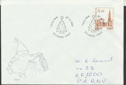 57-921 Estonia FDC Tallinnn Halliste Church 27.11.1997  From Post Arrival Postmark - Estonie