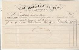 Facture Illustrée 28/9/1880 V DAMELET Imprimeur La Sentinelle Du Jura Journal Politique De L'Est LONS LE SAUNIER Jura - 1800 – 1899