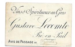 CARTE De VISITE...Vins Et Spiritueux En Gros, Gustave LECOMTE à PRE En PAIL ( Mayenne 53) - Visiting Cards