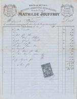 Facture Illustrée 16/7/1880 Mathilde JOUFFROY Mercerie Quincaillerie Ganterie Chaussures LONS LE SAUNIER Jura - 1800 – 1899