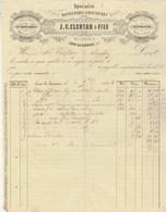 Facture Illustrée 2/11/1866 CLERTAN Bonneterie Chaussures Brides Sabots  LONS LE SAUNIER Jura - 1800 – 1899